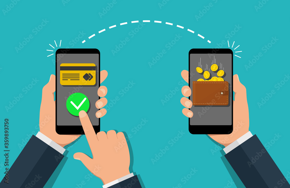 Fototapeta Money payment transfer in mobile. Online transaction with cash wallet and credit card. Two hands exchange electronic money. Concept of fast pay by purchase. Sending and receiving money. vector.