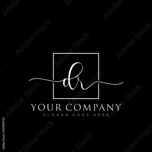 Fotografía initial DR branding logo collections, handwriting logo of initial signature, wed