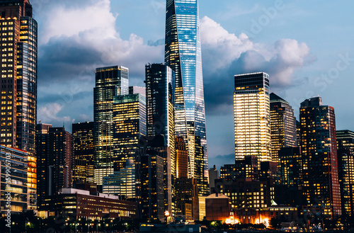 Scenery view of Lower Manhattan skyline at evening with city lights in windows Canvas Print