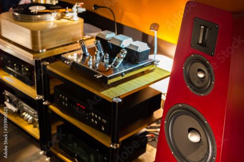 Canvas Red floor standing loudspeakers next to the audio rack with Vacuum amplifier