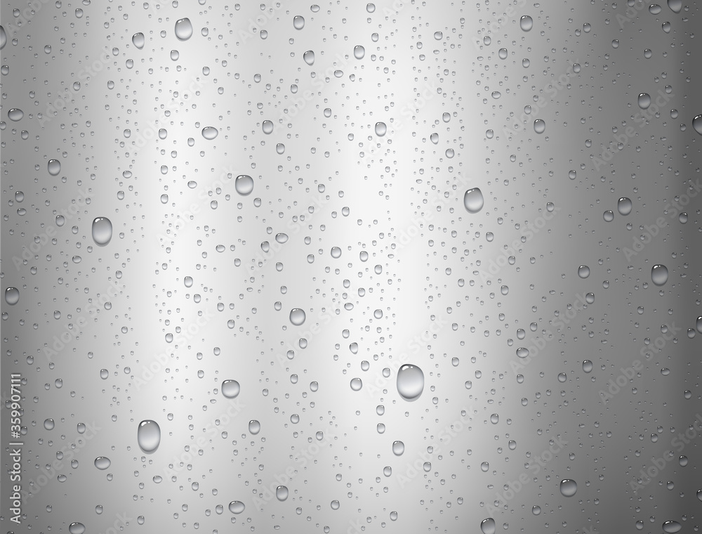 Fototapeta Water rain drop surface isolated on silver foil background. Realistic pure droplets texture. Vector metal gradient template with clear bubbles or dew