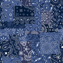 Blue Bandanna Kerchief Fabric ...