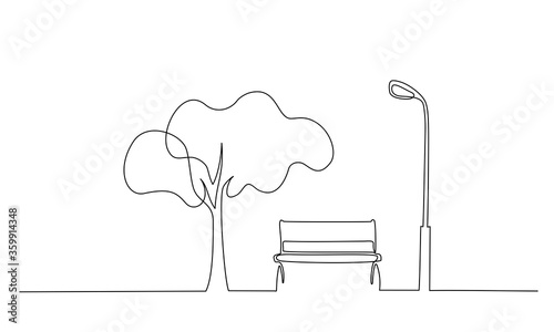 Bench in park near tree and lantern. One line drawing