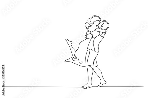Vászonkép Happy couple hugging and kissing. One line drawing