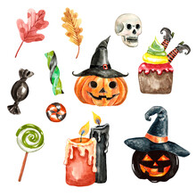 Watercolor Halloween Set Clipart. Hand Drawn Carved Pumpkins Head In Witch Hat, Skull, Candies And Sweets, Isolated On White Background. Scary Dark Illustration In Cartoon Style