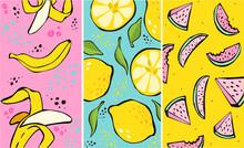Summer. New Fresh Modern Background. Fruit Fashion Poster Or Banner. Summer Vector Illustration Easy Editable For Wallpaper Or Store Sale Illustration For Greeting Cards, Prints. Journal Cards.