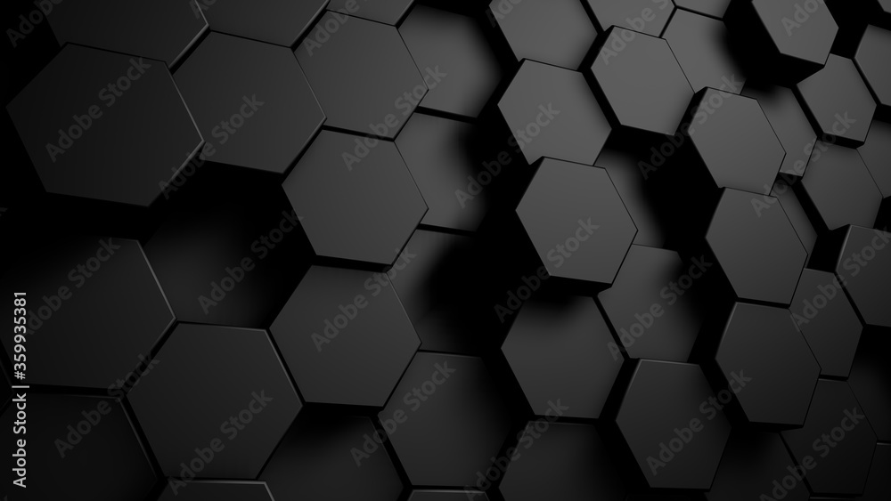 Fototapeta Abstract geometric hexagonal background. Grunge surface, 3d rendering Embossed Hexagon , honeycomb white Background ,light and shadow