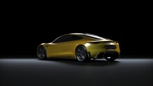 Back Light Electric Sports Car 3d Render In Black Background. Tesla Roadster 2020 Yellow Car Paint