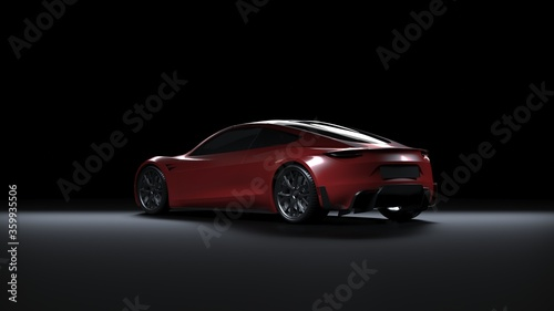 Back Light Electric Sports Car 3d Render in Black Background. Tesla Roadster 2020 Red Car Paint #359935506