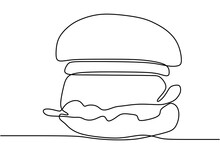 Hamburger Drawn In One Line On...
