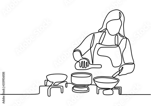 Continuous one line drawing girl cooking food vector illustration Fototapet