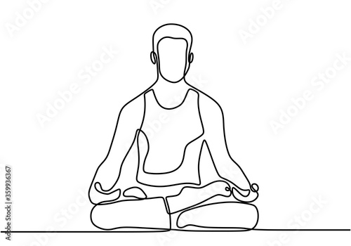 Obraz Continuous line art or one line drawing of man doing exercise in yoga pose. Sitting with cross leg and lotus yoga pose. Young male practice yoga for meditation. Illustration of person on meditation - fototapety do salonu