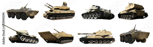 Set of different military machinery on white background Canvas-taulu
