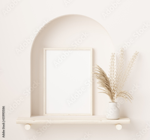 Mock up frame close up in home interior background with plant in vase, 3d render
