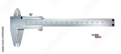 Top view Realistic calliper or caliper isolated on white background Canvas Print