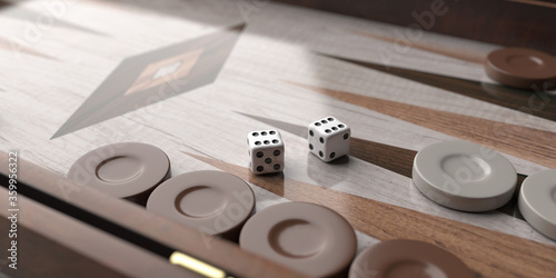 Fotografie, Obraz Backgammon, dice and chips closeup on game board. 3d illustration