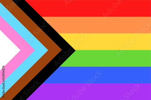Illustration of colorful new Social Justice / Progress rainbow pride flag / banner of LGBTQ+ (Lesbian, gay, bisexual, transgender & Queer) organization. June is celebrated as the Pride Parade month - fototapety na wymiar