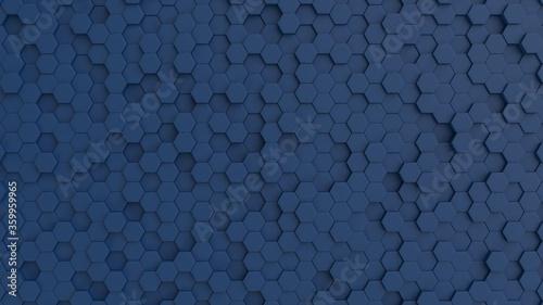 Hexagonal dark navy blue background texture Wallpaper Mural