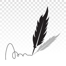 Feather Quill Pen With Signatures Flat Icon For Apps And Websites