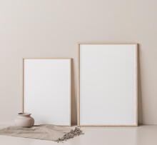 Frame Mock Up In Empty Room On Beige Wall, Two Wooden Frames Standing On White Floor, 3D Render
