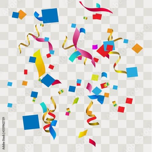 Fototapeta Colorful confetti. Festive of falling shiny confetti isolated on transparent background. obraz na płótnie