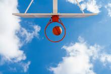 Basketball And Hoop, Blue Sky,...