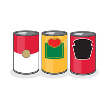 Set Of 3 Classic Food Cans
