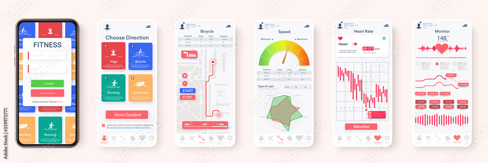 Fototapeta Creative design of the Fitness Application, UI, UX. Set of GUI Screens with Login and Password input, and Screens Showing Physical Activity, Health Infographics. Mobile template Health & Medical. 3d