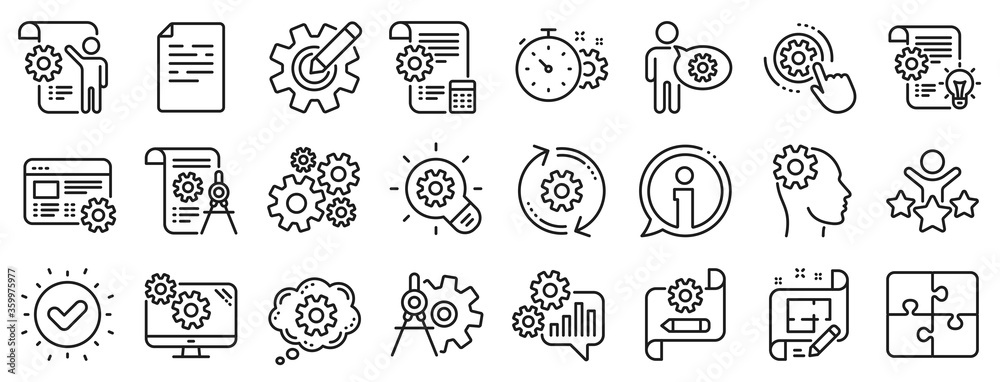 Fototapeta Set of Idea bulb, Dividers tools and Blueprint linear icons. Engineering line icons. Cogwheel, calculate price, mechanical tools. Idea bulb with cog, architect dividers, engineering people. Vector