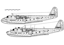 Blohm & Voss BV 222 Wiking. World War 2 Flying Boat. Side View. Image For Illustration And Infographics.