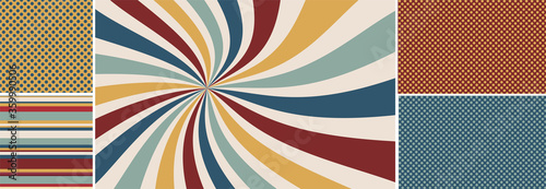 Fototapeta retro starburst or sunburst background vector pattern, vintage color palette of red gold blue yellow and off white in spiral or swirled striped design, matching seamless polka dot and striped pattern obraz