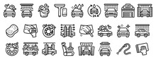 Car Wash Icons Set. Outline Se...