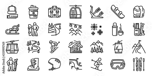 Ski resort icons set Wallpaper Mural