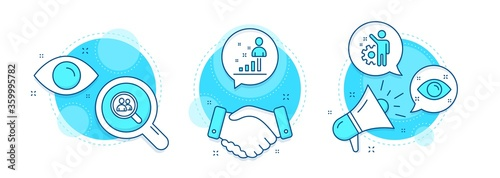 Stats, Search employees and Employee line icons set. Handshake deal, research and promotion complex icons. Health eye sign. Business analysis, Staff analysis, Cogwheel. Optometry. People set. Vector