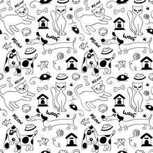 Cats And Dogs Seamless Pattern...