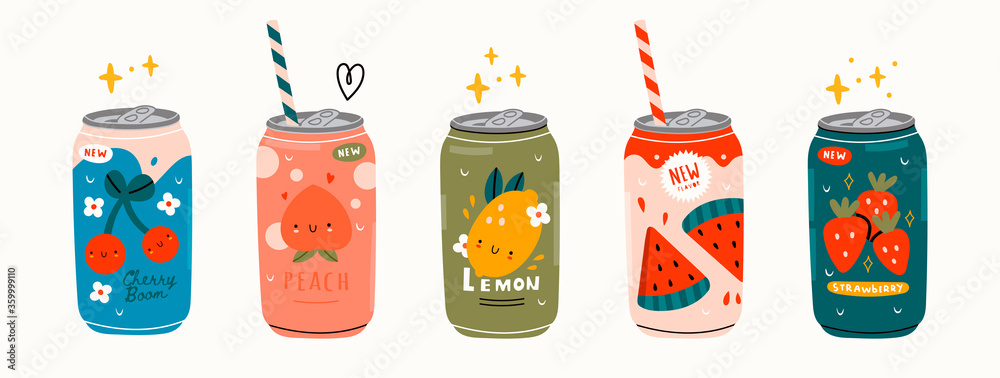 Fototapeta Various tasty Sodas. Hand drawn Vector set of soft Drinks in aluminum Cans. Carbonated water with different fruit flavors. Kawaii Japanese style. Trendy illustration. All elements are isolated
