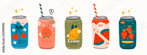 Fototapeta Various tasty Sodas. Hand drawn Vector set of soft Drinks in aluminum Cans. Carbonated water with different fruit flavors. Kawaii Japanese style. Trendy illustration. All elements are isolated obraz