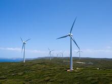 Wind Turbines Across Hilltops