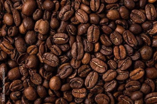 Fotografie, Obraz Roasted coffee beans on the table, macro
