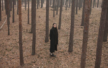Girl With Long Black Hair In A Dark Coat Is Standing And Posing In A Pine Tree