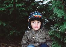 Child Playing In Snow Around Evergreens