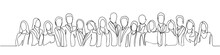 Group Of People Continuous One Line Vector Drawing. Family, Friends Hand Drawn Characters. Crowd Standing At Concert, Meeting. Women And Men Waiting In Queue. Minimalistic Contour Illustration