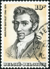 BELGIUM - 1974: Shows Lambert Adolphe Jacques Quetelet (1796-1874), Statistician, Astronomer And Secretary Of Royal Academy Of Brussels, 1974