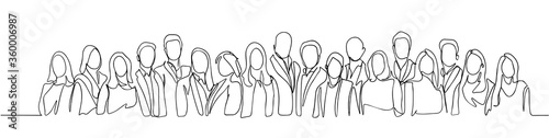 Obraz Group of people continuous one line vector drawing. Family, friends hand drawn characters. Crowd standing at concert, meeting. Women and men waiting in queue. Minimalistic contour illustration - fototapety do salonu