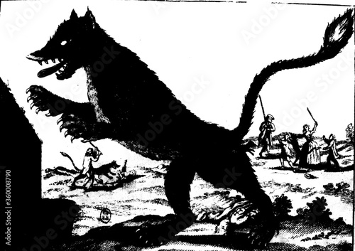 gravure ancienne du XVIII siècle montrant la bête du gévaudan debout sur ses pat Canvas Print