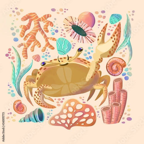 Photo Crab doodle collage for cards, invitation, notebook design, banner, web, wrapping paper, package, clothes