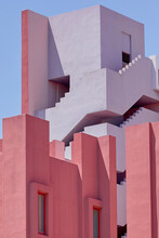 Watercolor Buildings Against Blue Sky