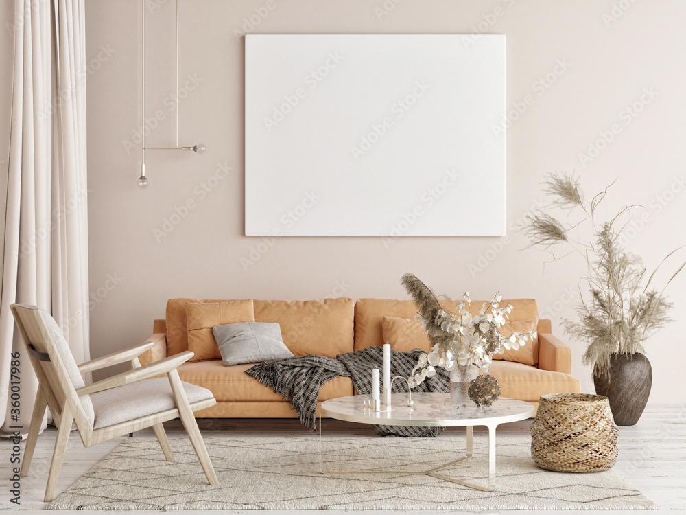 Fototapeta Mockup poster in Living room, natural colors background, 3d render, 3d illustration