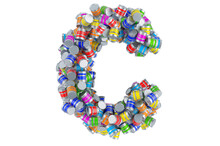 Letter C From Colored Paint Cans, 3D Rendering