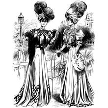 Vintage Engraving Of Two Ladies